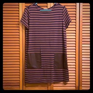Brown and blue striped dress